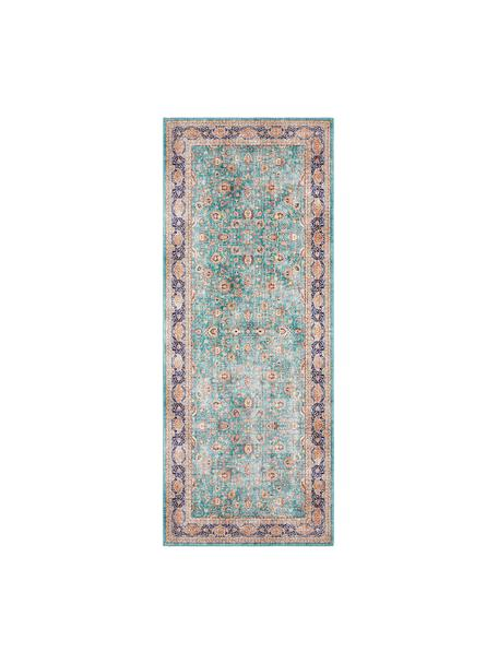 Loper Keshan Maschad in Oosterse stijl, 100% polyester, Jadegroen, multicolour, 80 x 200 cm