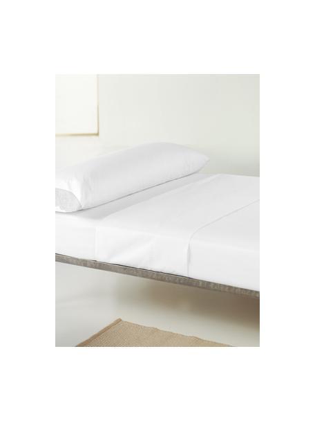 Sábana encimera de satén  con encaje Liso Pe, Blanco, Cama 90 cm (160 x 270 cm)