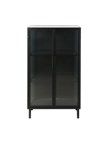 Chiffonnier de vidrio y metal Markus, Estructura: metal recubierto, Negro, transparente, An 66 x Al 112 cm