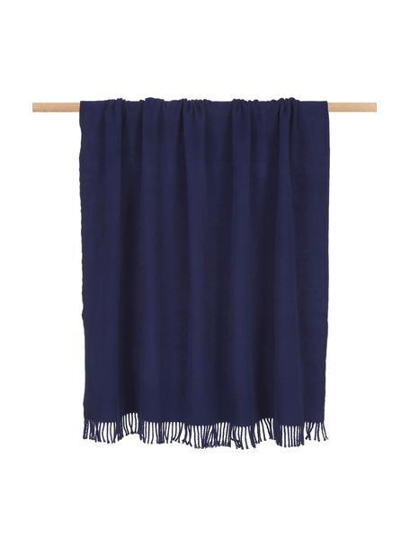 Koc z bawełny Plain, 50% bawełna, 50% akryl, Ciemnyniebieski, S 140 x D 180 cm