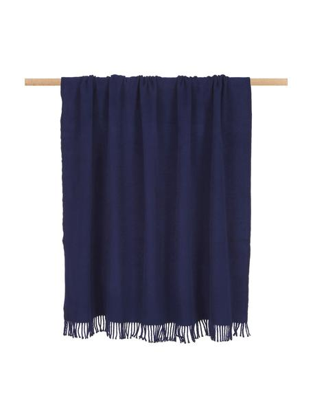 Plaid blu scuro con frange Plain, 50% cotone, 50% acrilico, Blu scuro, Larg. 140 x  Lung.180 cm