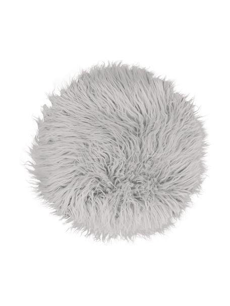 Okrągła nakładka na siedzisko ze sztucznego futra Morten, kręcone, Jasny szary, Ø 37 cm