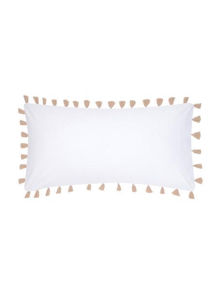 Baumwollperkal-Kissenbezüge Quo mit Quasten, 2 Stück, Webart: Perkal Fadendichte 200 TC, Weiß, Beige, 40 x 80 cm