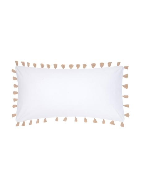 Poszewka na poduszkę z perkalu z chwostami Quo, 2 szt., Biały, beżowy, S 40 x D 80 cm