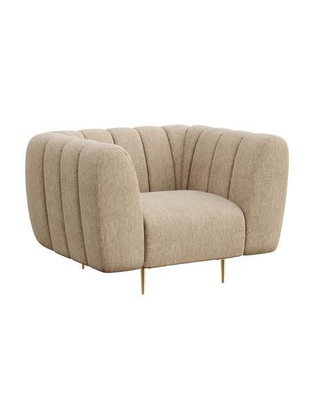Fotel Shel, Tapicerka: 100% aksamit poliestrowy , Nogi: metal powlekany, Beżowy, S 110 x G 95 cm