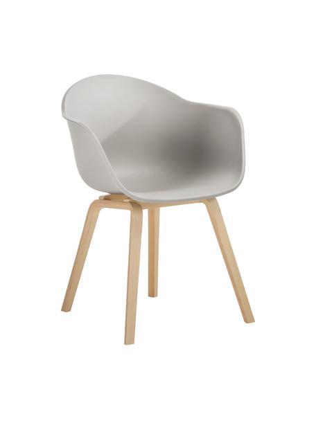 Kunststoff-Armlehnstuhl Claire mit Holzbeinen, Sitzschale: Kunststoff, Beine: Buchenholz, Kunststoff Beigegrau, B 60 x T 54 cm