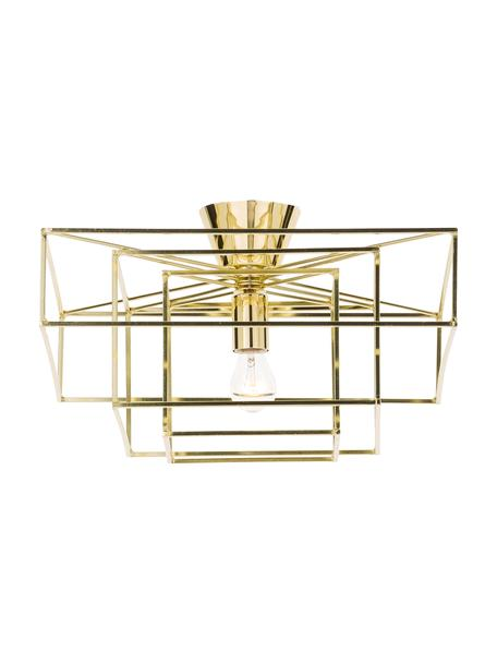 Deckenleuchte Cube in Gold, Baldachin: Messing, lackiert, Goldfarben, 46 x 27 cm