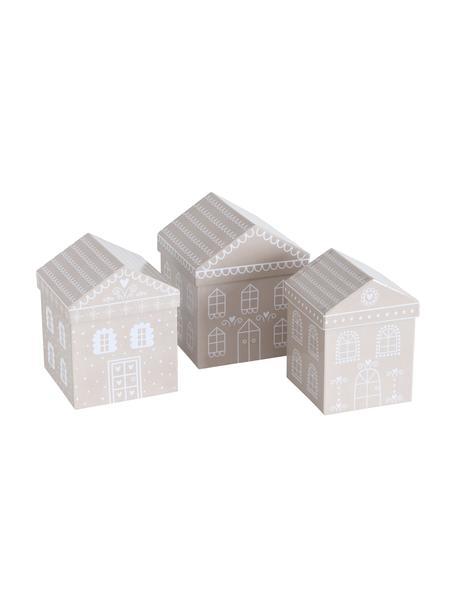 Set de cajas regalo Villana, 3uds., Papel, Beige, blanco, Set de diferentes tamaños