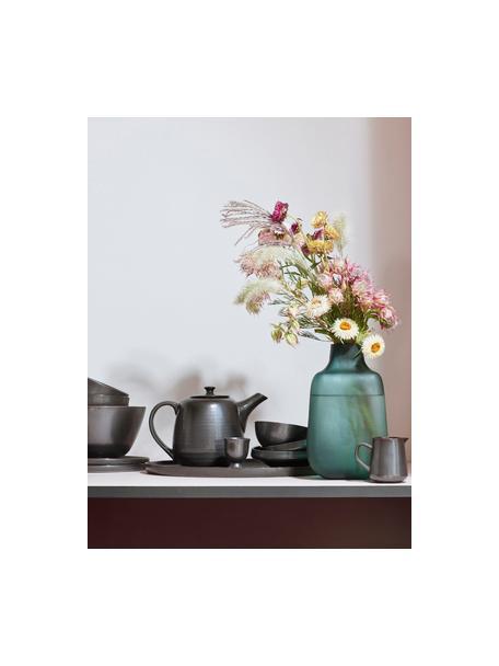 Handgemachte Eierbecher Esrum Night, 4 Stück, Steingut, glasiert, Graubraun, matt silbrig schimmernd, Ø 5 x H 7 cm