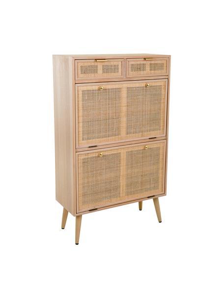 Zapatero de madera Cayetana, Estructura: tablero de fibras de dens, Patas: madera de bambú pintada, Marrón, An 70 x Al 120 cm