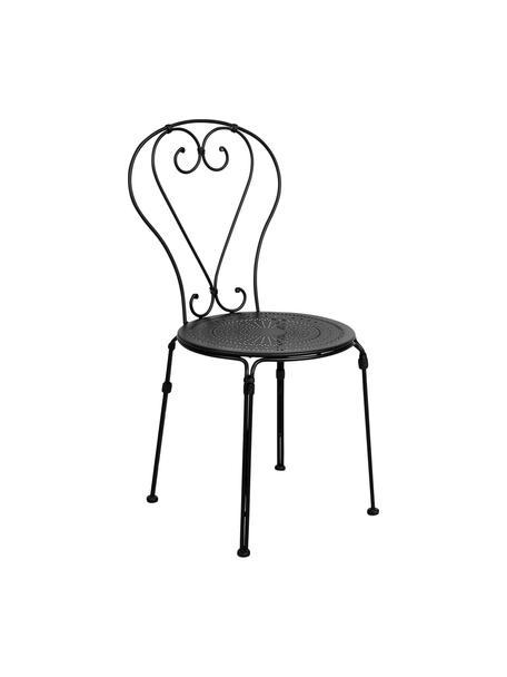 Gartenstühle Palazzo aus Metall, 2 Stück, Metall, pulverbeschichtet, wetterfest und unempfindlich Gummistutzen an den Füßen für rutschfesten Halt und zusätzlichen Kratzerschutz bei empfindlichen Böden, Schwarz, B 43 x T 50 cm