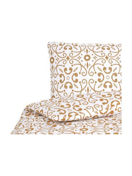 Pościel z bawełny Ashley, Biały, musztardowy, 135 x 200 cm + 1 poduszka 80 x 80 cm