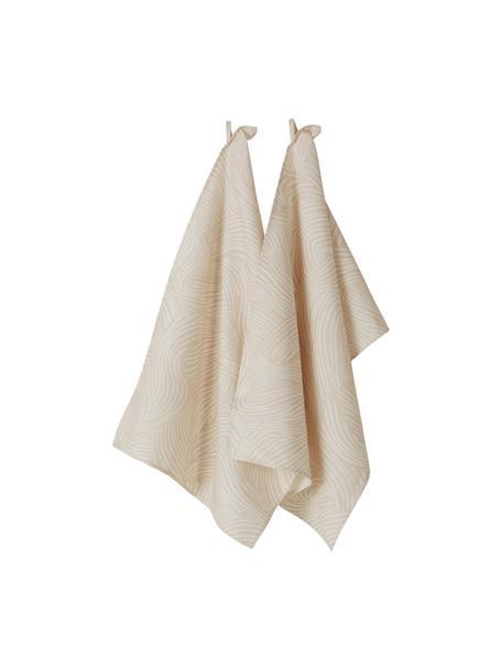 Katoenen theedoeken Vida in beige met fijne lijnen, 2 stuks, 100% katoen, Beige, 50 x 70 cm