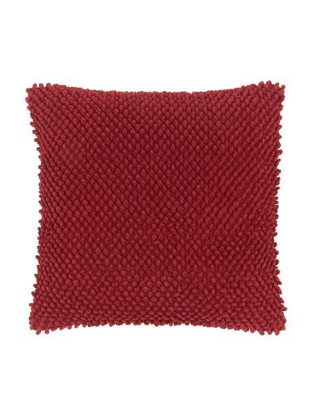 Poszewka na poduszkę ze strukturalną powierzchnią Indi, 100% bawełna, Ciemny czerwony, S 45 x D 45 cm