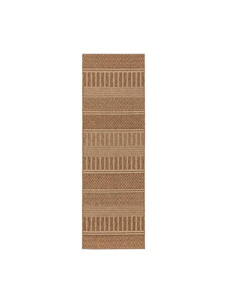 In- & outdoor loper Naoto in jute look, 100% polypropyleen, Bruin, 80 x 240 cm