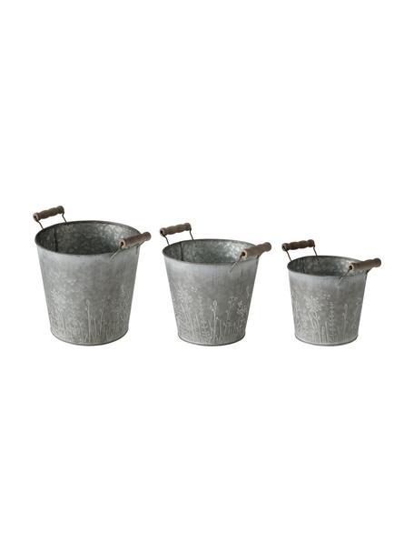 Kleines Übertopf-Set Silene, 3-tlg., Übertopf: Metall, verzinkt, Griff: Holz, Zink, Set mit verschiedenen Größen