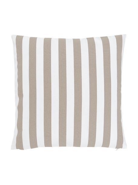 Gestreifte Kissenhülle Timon in Beige/Weiß, 100% Baumwolle, Taupe, Weiß, 50 x 50 cm