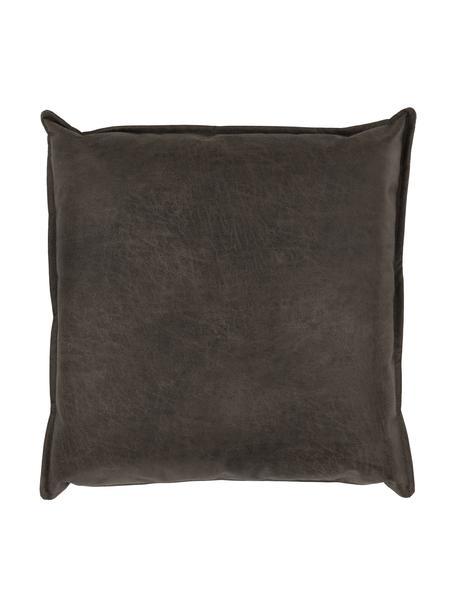 Poduszka ze skóry z recyklingu Lennon, Tapicerka: skóra z recyklingu (70% s, Brązowy, szary, S 60 x D 60 cm