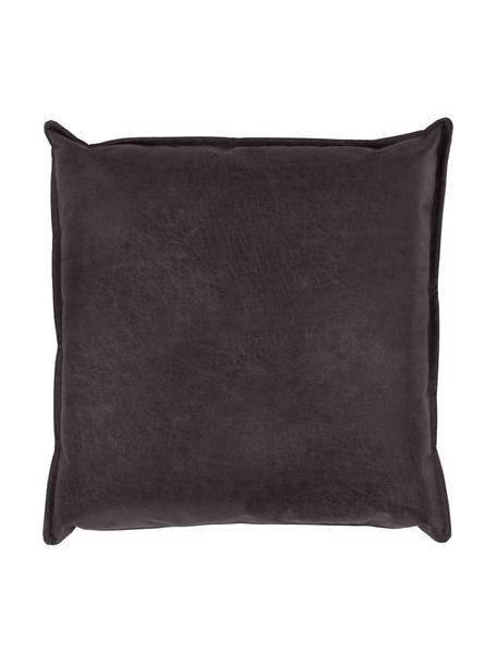 Poduszka ze skóry z recyklingu Lennon, Tapicerka: skóra z recyklingu (70% s, Skórzany szarobrązowy, S 60 x D 60 cm