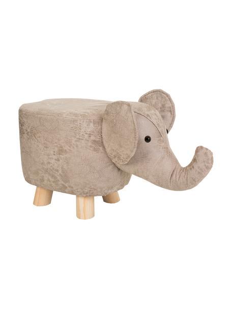 Taburete infantil Lilli, Patas: madera de paulownia, Tapizado: piel sintética, Gris, An 50 x Al 27 cm