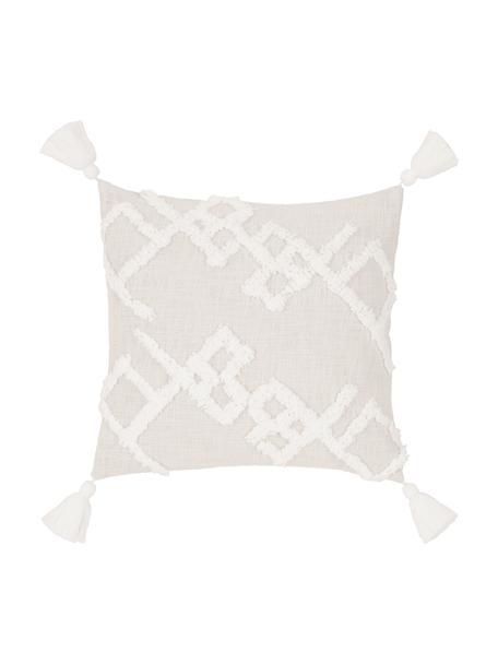 Poszewka na poduszkę z tuftowaną dekoracją Tikki, 100% bawełna, Beżowy, S 40 x D 40 cm