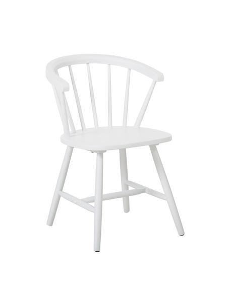 Krzesło Windsor z podłokietnikami z drewna Megan, 2 szt., Drewno kauczukowe, lakierowane, Biały, S 53 x G 52 cm