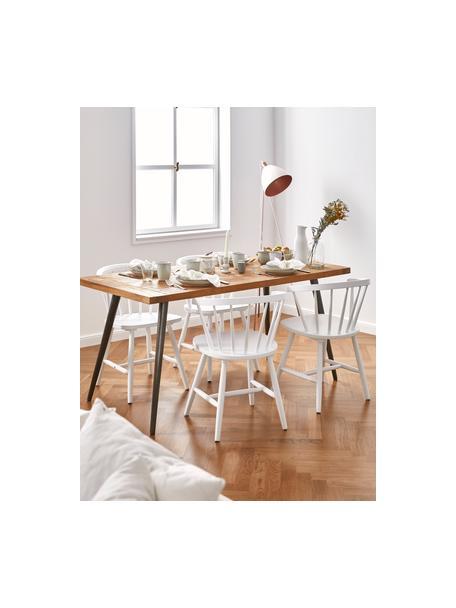Sillas con reposabrazos de madera Windsor Megan, 2uds., Madera de caucho lacada, Blanco, An 53 x F 52 cm