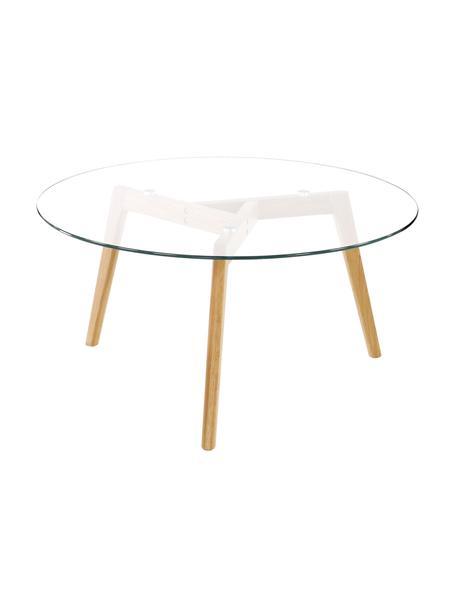 Runder Couchtisch Bloom mit Glasplatte, Tischplatte: Glas, Transparent, Ø 90 x H 40 cm