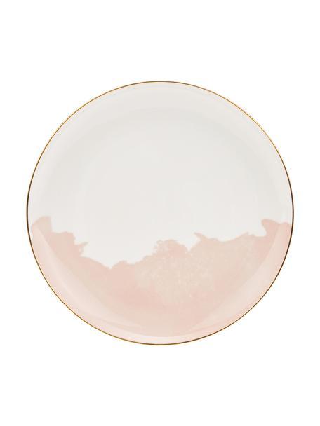 Porzellan Frühstücksteller Rosie mit abstraktem Muster und goldfarbenem Rand, 2 Stück, Porzellan, Weiß,Rosa, Ø 21 x H 2 cm