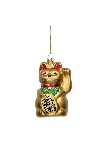 Baumanhänger Cat H 11 cm, 2 Stück, Goldfarben, Grün, Rot, Schwarz, Ø 6 x H 11 cm