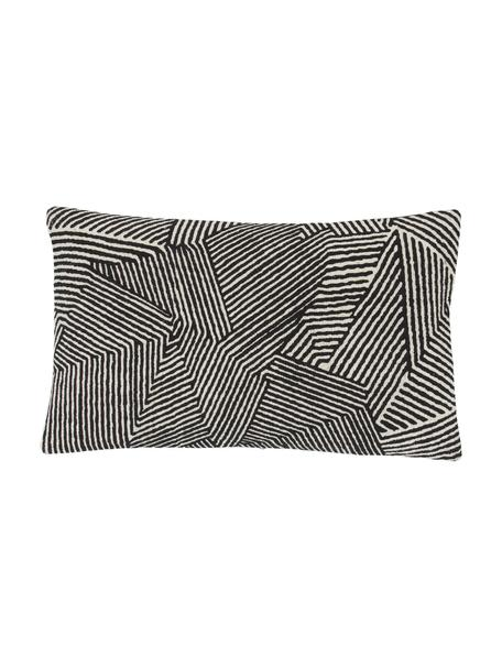 Federa arredo con motivo grafico nero Nadia, 100% cotone, Beige, bianco, nero, Larg. 30 x Lung. 50 cm