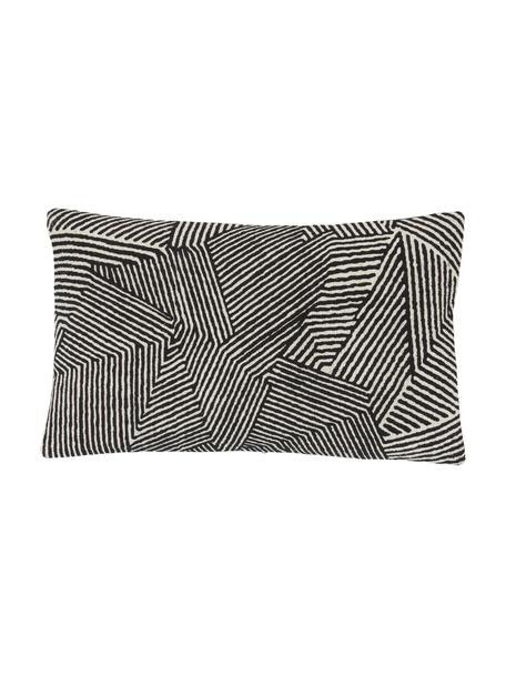 Kussenhoes Nadia met grafisch patroon in zwart, 100% katoen, Beige, wit, zwart, 30 x 50 cm