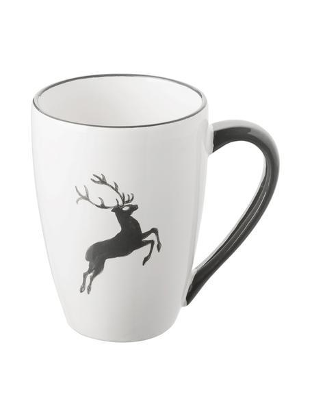 Handbeschilderde mok Gourmet Grey Deer, Keramiek, Grijs, wit, 300 ml