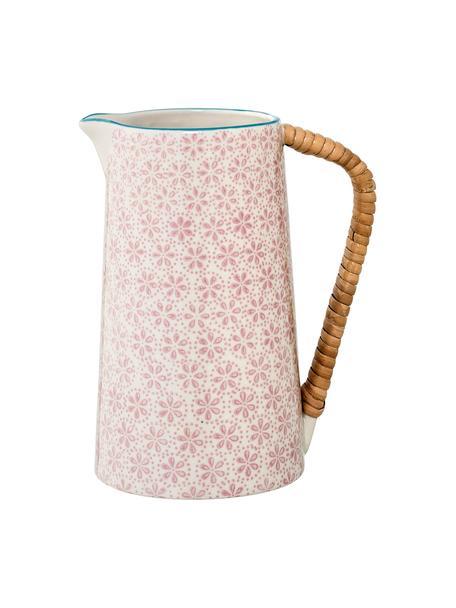 Handbemalter Steingut Wasserkrug Patrizia mit verspieltem Muster, 800 ml, Griff: Bambus, Rosa, 800 ml
