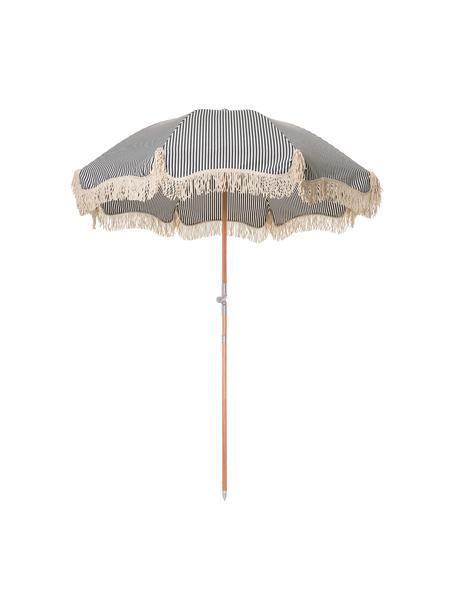 Gestreepte parasol Retro met franjes in blauw-wit, knikbaar, Frame: gelamineerd hout, Franjes: katoen, Donkerblauw, gebroken wit, Ø 180 x H 230 cm