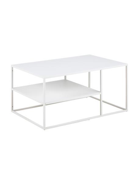 Tavolino da salotto in metallo bianco Newton, Metallo verniciato a polvere, Bianco, Larg. 90 x Alt. 45 cm