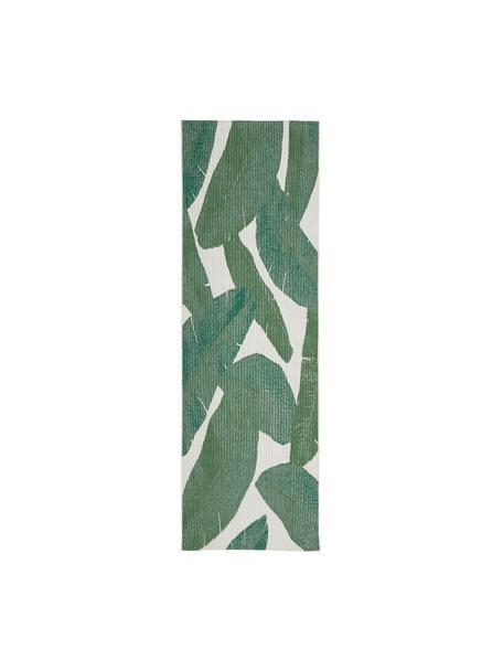 In- & outdoor loper Jungle met bladpatroon, 86% polypropyleen, 14% polyester, Crèmewit, groen, 80 x 250 cm