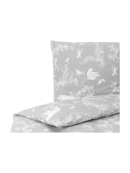 Pościel z flaneli Animal Toile, Szary, 135 x 200 cm + 1 poduszka 80 x 80 cm