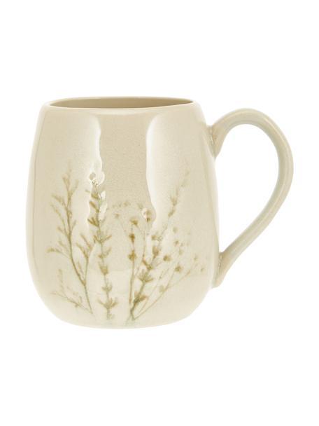 Tazza fatta a mano con motivo erbe Bea, Gres, Beige, multicolore, Ø 10 x Alt. 11 cm