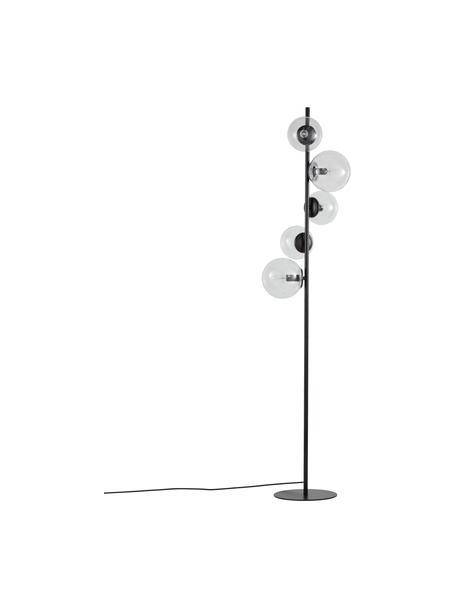 Industrial-Stehlampe Casey aus Glas, Lampenfuß: Metall, pulverbeschichtet, Schwarz, H 170 cm