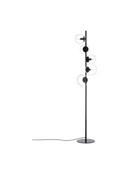 Industrial-Stehlampe Casey aus Glas, Lampenfuß: Metall, pulverbeschichtet, Schwarz, Ø 40 x H 170 cm
