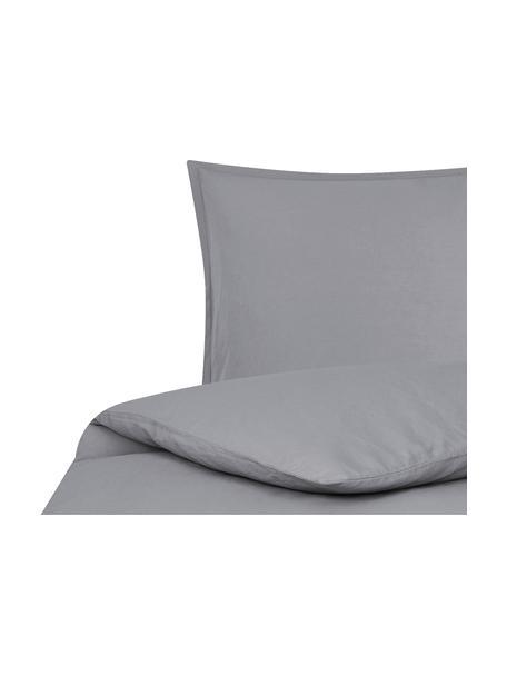 Pościel lniana z efektem sprania Nature, Ciemny szary, 135 x 200 cm + 1 poduszka 80 x 80 cm