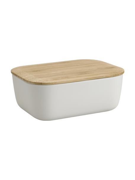 Butterdose Box-It in Hellgrau mit Bambusdeckel, Dose: Melamin, Deckel: Bambus, Hellgrau, 16 x 6 cm