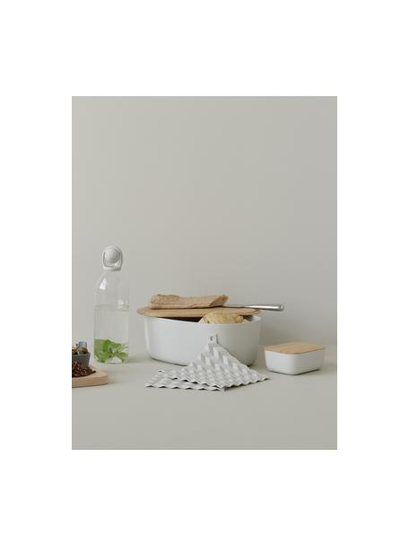 Burriera color grigio chiaro con coperchio in bambù, Coperchio: bambù, Grigio chiaro, Larg. 16 x Alt. 6 cm