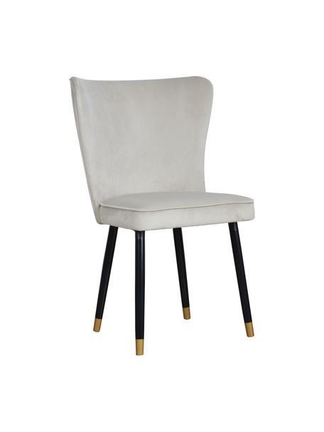 Krzesło tapicerowane z aksamitu Monti, Tapicerka: aksamit (100% poliester), Nogi: drewno naturalne, fornir, Aksamitny jasny szary, S 55 x G 66 cm