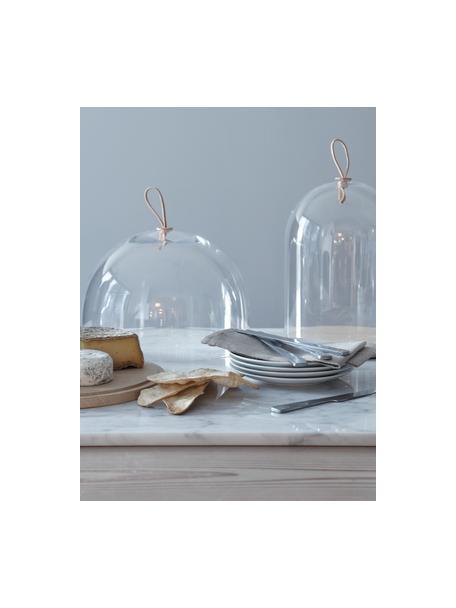 Campana quesera artesanal de vidrio y madera Cloche Ivalo, Campana: vidrio, Correa: cuero, Transparente, marrón, Ø 32 x Al 23 cm