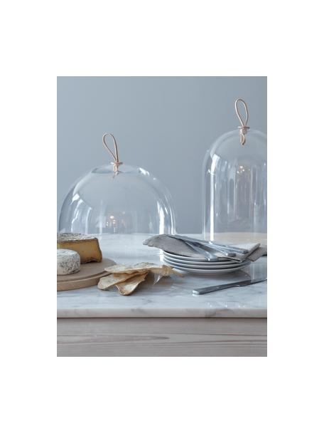 Cloche in vetro soffiato e legno Ivalo, Ø 32 cm, Maniglia: pelle, Trasparente, marrone, Ø 32 x Alt. 23 cm