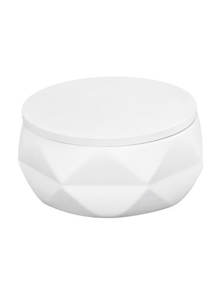 Bote para el baño de poliresina Crackle, Poliresina, Blanco, Ø 11 x Al 6 cm