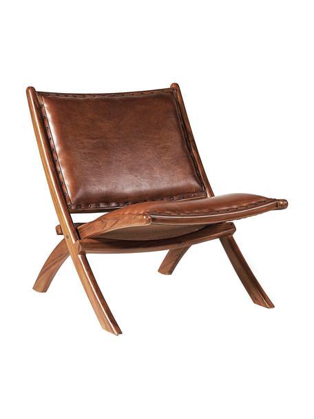 Sedia a poltrona pieghevole in pelle marrone Low, Rivestimento: pelle, Struttura: legno di Mindi, Pelle marrone, Larg. 65 x Prof. 88 cm