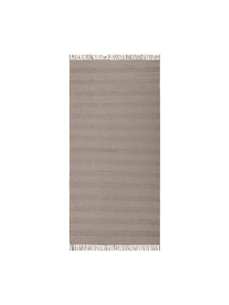 Katoenen vloerkleed Tanya met ton-sur-ton weefpatroon en franjes, 100% katoen, Taupe, B 70 x L 150 cm (maat XS)